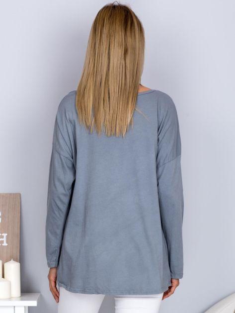 Bawełniana bluzka z nadrukiem kwiatów szara                              zdj.                              2