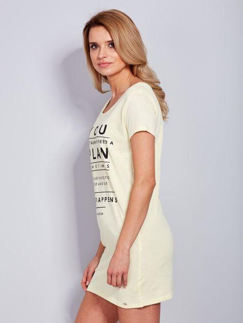 Bawełniana cytrynowa sukienka z napisami                              zdj.                              5