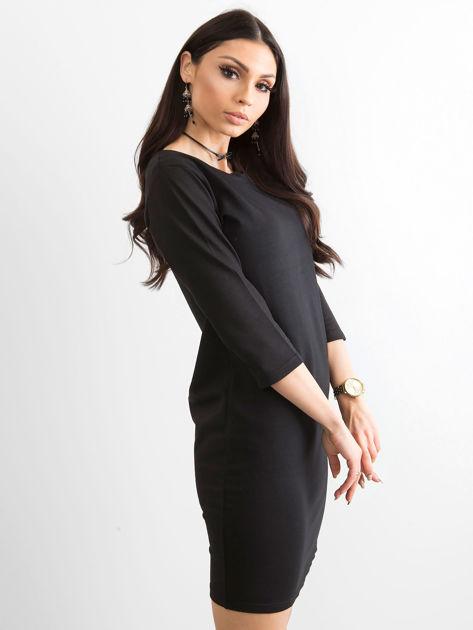 Bawełniana gładka sukienka oversize czarna                              zdj.                              3