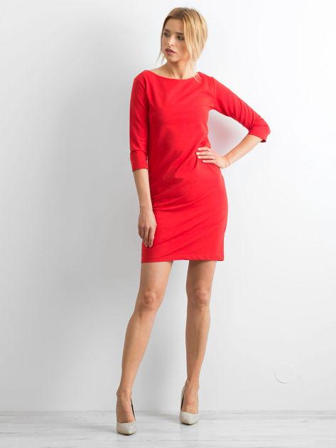 Bawełniana gładka sukienka oversize czerwona                              zdj.                              4