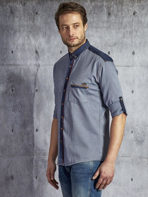 Bawełniana koszula męska z przeszyciami granatowa PLUS SIZE                              zdj.                              3