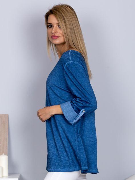 Bawełniana melanżowa bluzka ciemnoniebieska                                  zdj.                                  3