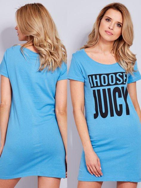 Bawełniana niebieska sukienka z nadrukiem                                  zdj.                                  1