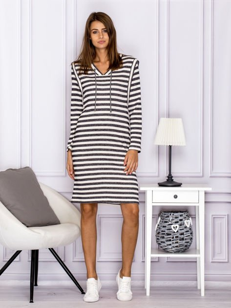 Bawełniana sukienka w paski ze sznurowaniem szara                                  zdj.                                  4