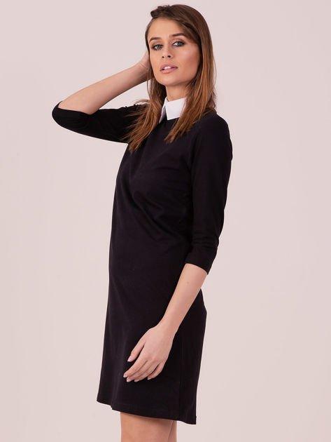 Bawełniana sukienka z kołnierzykiem czarna                              zdj.                              3