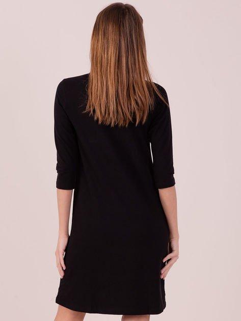 Bawełniana sukienka z kołnierzykiem czarna                              zdj.                              2