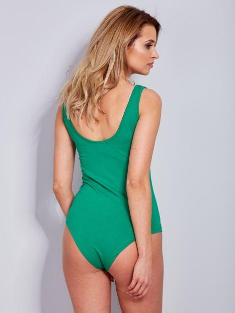 3190a80d1ed1a4 Bawełniane body damskie z naszywkami zielone - Bluzka body - sklep ...