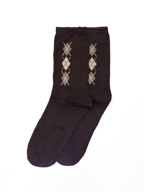 Bawełniane eleganckie skarpety męskie w romby 3-pak wielokolorowe                              zdj.                              4