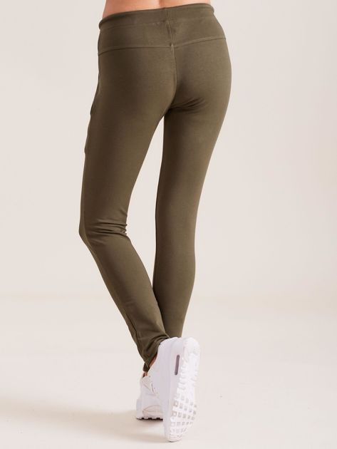 Bawełniane spodnie dresowe z troczkami khaki                              zdj.                              2