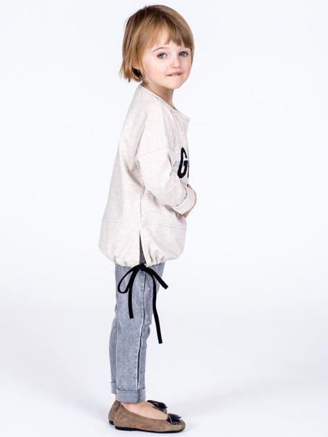Beżowa bawełniana bluzka dziewczęca GROW UP ze ściągaczem                              zdj.                              4