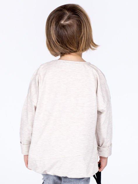 Beżowa bawełniana bluzka dziewczęca GROW UP ze ściągaczem                              zdj.                              3