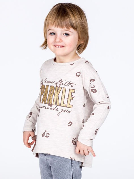 Beżowa bawełniana bluzka dziewczęca z nadrukiem i kokardkami                              zdj.                              4
