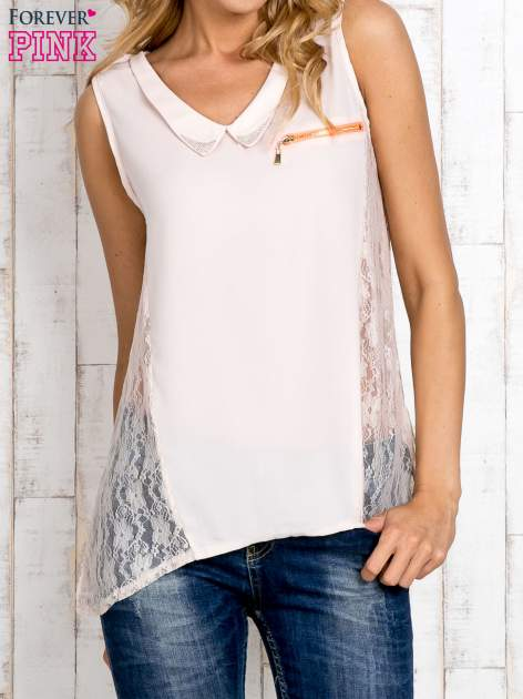 Beżowa bluzka koszulowa z koronkowymi wstawkami na bokach                                  zdj.                                  1