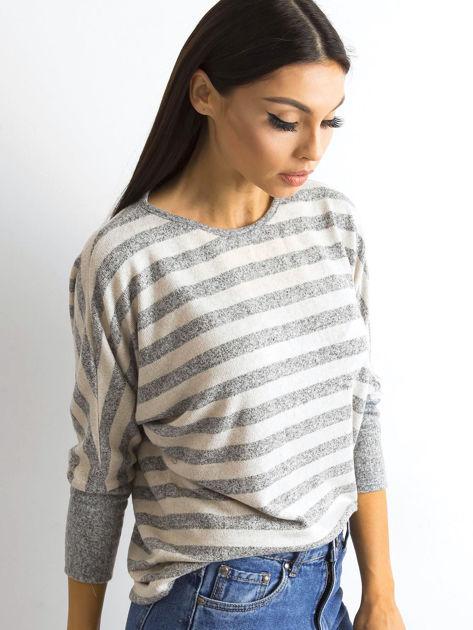 Beżowa bluzka w paski                              zdj.                              3
