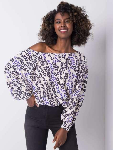 Beżowa bluzka z nadrukiem Lina RUE PARIS