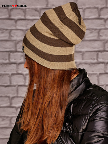 Beżowa dwustronna czapka w paski FUNK N SOUL                              zdj.                              2