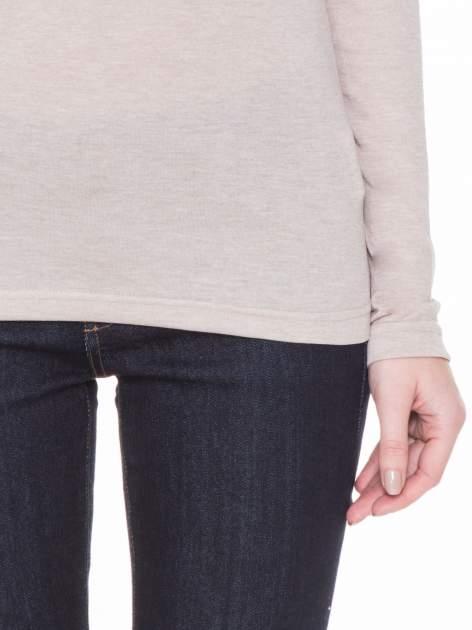 Beżowa gładka bluzka z reglanowymi rękawami                                  zdj.                                  6