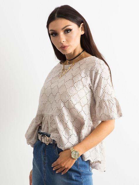 Beżowa haftowana bluzka z falbaną                              zdj.                              3