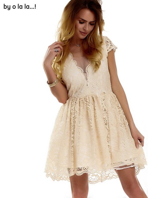 Beżowa koronkowa sukienka z siateczkową wstawką BY O LA LA                              zdj.                              11