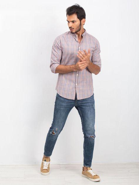 Beżowa koszula męska Casual                              zdj.                              4
