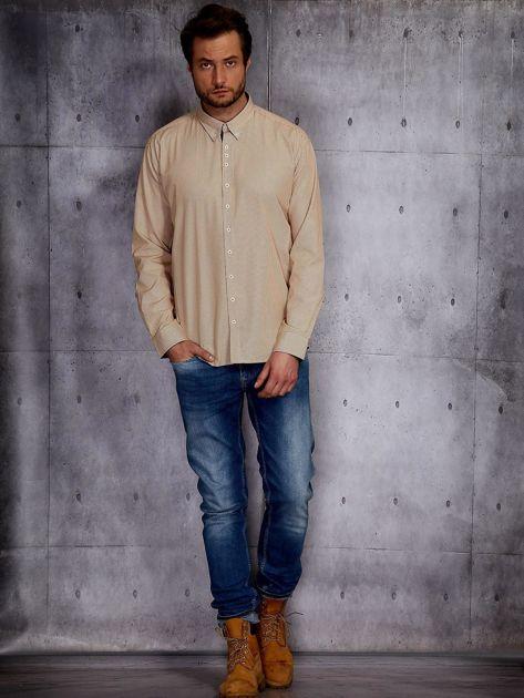 Beżowa koszula męska w drobną kratkę PLUS SIZE                              zdj.                              4