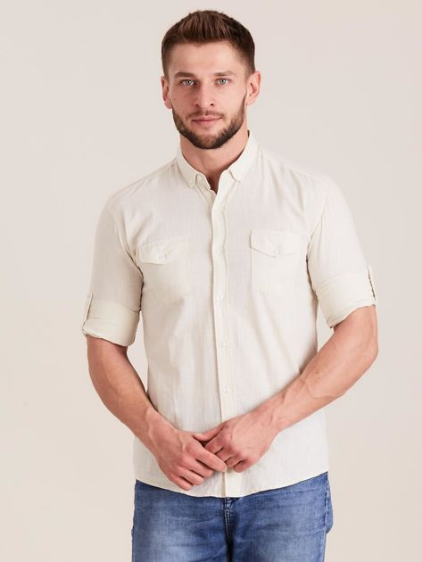 Beżowa koszula męska z bawełny                              zdj.                              1