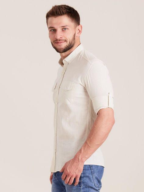 Beżowa koszula męska z bawełny                              zdj.                              3