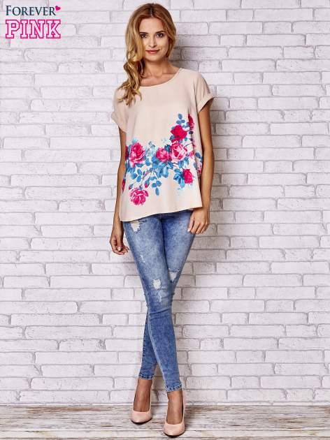 Beżowa koszula z motywem kwiatów                                  zdj.                                  2
