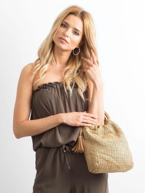 Beżowa mała torebka pleciona do ręki                              zdj.                              4