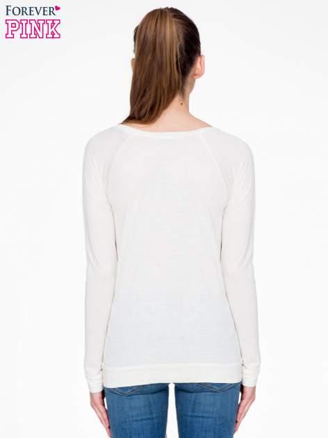 Beżowa melanżowa bawełniana bluzka z rękawami typu reglan                                  zdj.                                  4
