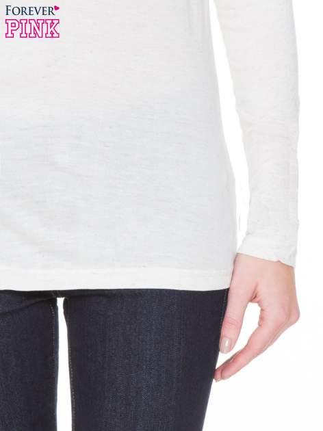 Beżowa melanżowa gładka bluzka z reglanowymi rękawami                                  zdj.                                  8