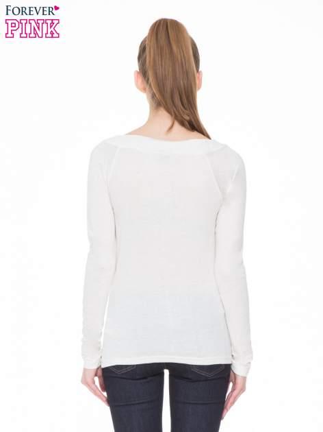 Beżowa melanżowa gładka bluzka z reglanowymi rękawami                                  zdj.                                  4