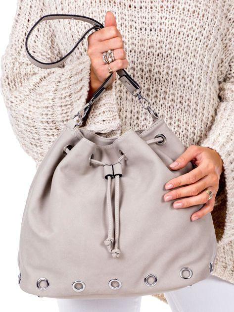 Beżowa miękka torba ze ściągaczem                              zdj.                              1