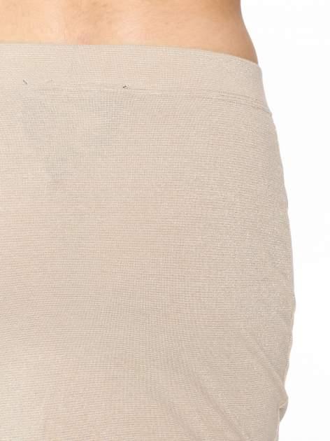 Beżowa mini spódniczka przeplatana złotą nicią                                  zdj.                                  6