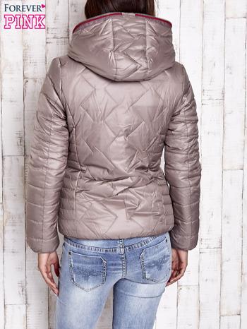 Beżowa pikowana kurtka z futrzaną podszewką                                  zdj.                                  2