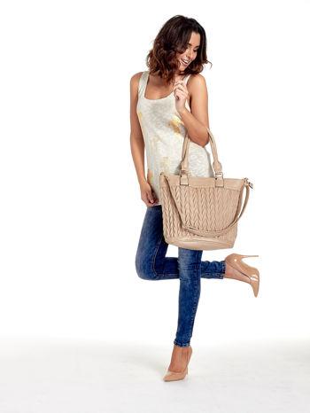 Beżowa pikowana torba na ramię                                  zdj.                                  12