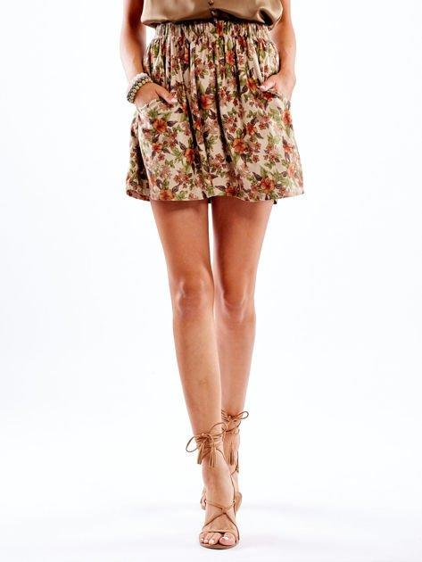 Beżowa spódnica w kwiatowe wzory                                  zdj.                                  1