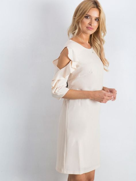 Beżowa sukienka Brilliance                              zdj.                              3