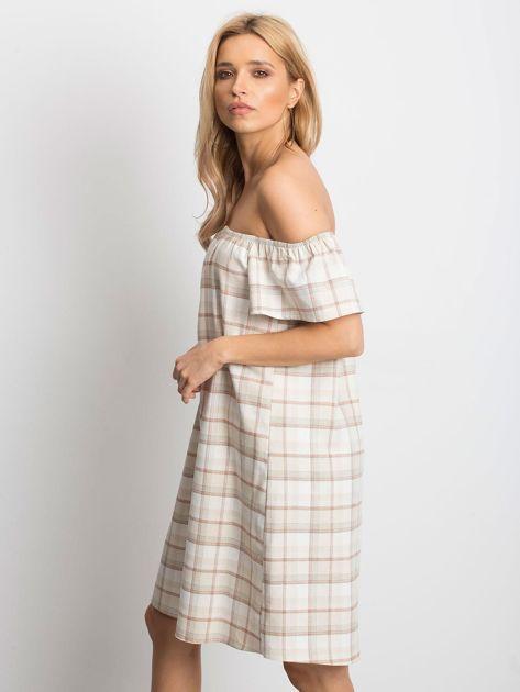 Beżowa sukienka Chequer                              zdj.                              3