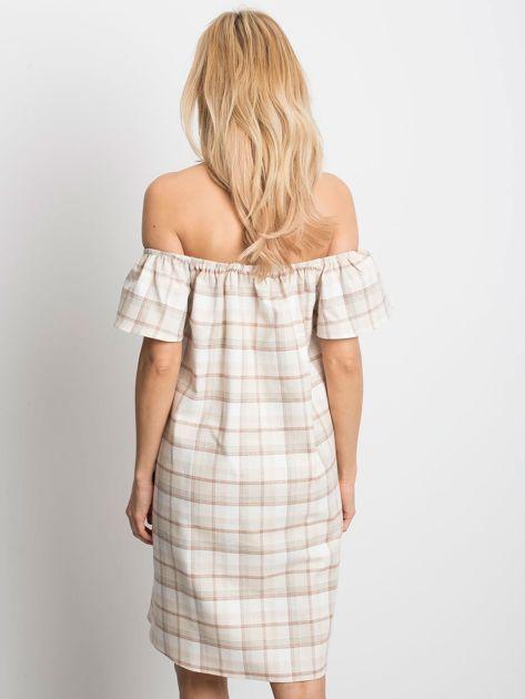 Beżowa sukienka Chequer                              zdj.                              2
