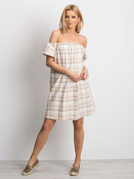 Beżowa sukienka Chequer                              zdj.                              4
