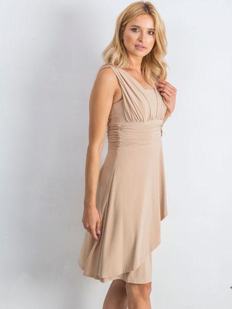 Beżowa sukienka Decorative                              zdj.                              3