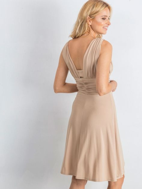 Beżowa sukienka Decorative                              zdj.                              2