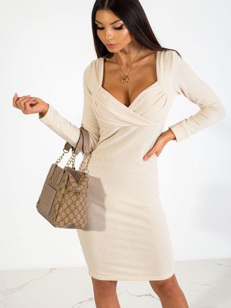 Beżowa sukienka Swan                              zdj.                              1