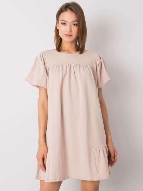 Beżowa sukienka bawełniana Liliyana RUE PARIS