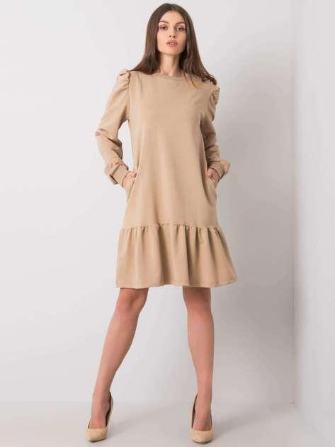 Beżowa sukienka dresowa z falbaną Neah
