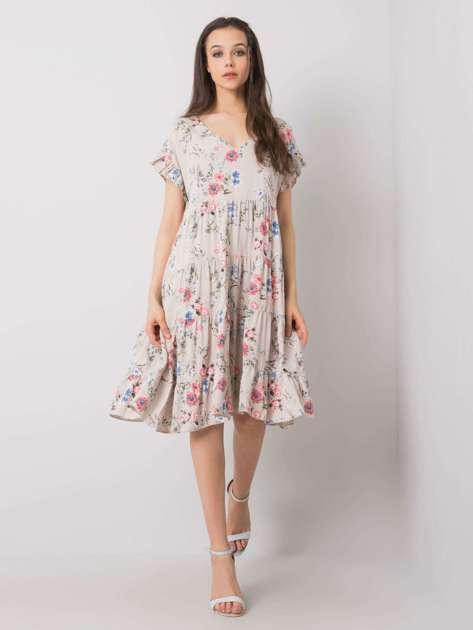 Beżowa sukienka w kwiaty Lucinda