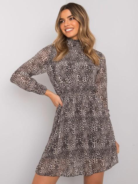Beżowa sukienka w panterkę Jacquie RUE PARIS