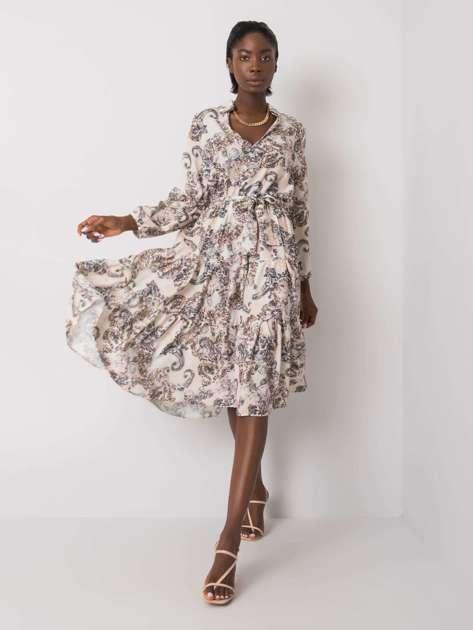 Beżowa sukienka we wzory z falbaną Laurene RUE PARIS