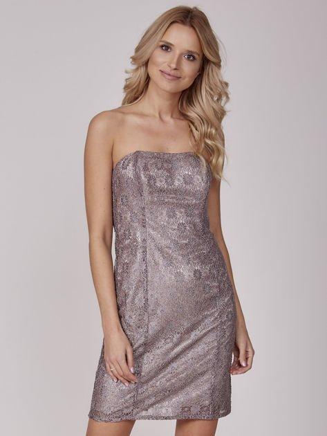 Beżowa sukienka wieczorowa z błyszczącą nitką                              zdj.                              1